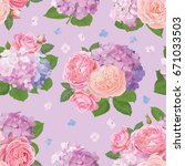 seamless pattern bouquet of... | Shutterstock .eps vector #671033503