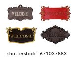 welcome sign isolated on white... | Shutterstock . vector #671037883