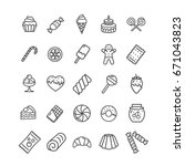 sweets and bakery icon black... | Shutterstock . vector #671043823