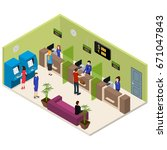 interior bank office isometric... | Shutterstock .eps vector #671047843