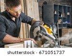 young brunette man in black... | Shutterstock . vector #671051737