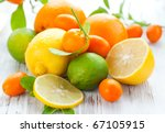 Citrus Fresh Fruit On The Whit...