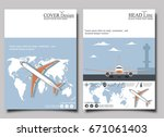 aviation flyers set with jet...   Shutterstock .eps vector #671061403
