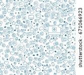 social media blue seamless... | Shutterstock . vector #671066923