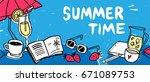 summer banner with sun umbrella ... | Shutterstock .eps vector #671089753