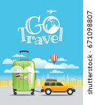 vacation travelling concept.... | Shutterstock .eps vector #671098807