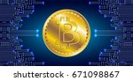 international currency. virtual ... | Shutterstock .eps vector #671098867