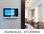 smart screen on wall with... | Shutterstock . vector #671100463