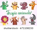 cartoon african animals set.... | Shutterstock .eps vector #671108233