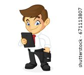 businessman holding computer... | Shutterstock .eps vector #671113807