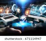 businessman on blurred... | Shutterstock . vector #671114947