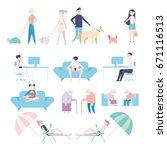 people pose pastel tone vector... | Shutterstock .eps vector #671116513