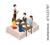 in restaurant waiter with... | Shutterstock . vector #671121787