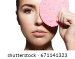 a woman's face with healthy...   Shutterstock . vector #671141323