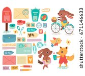 vector postal set with cute... | Shutterstock .eps vector #671146633