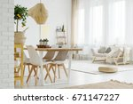 bright wooden sofa with pillows ... | Shutterstock . vector #671147227