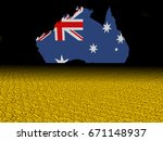 australia map flag with dollar... | Shutterstock . vector #671148937