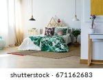 artistic bedding style in comfy ... | Shutterstock . vector #671162683
