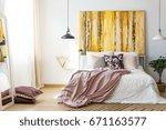 yellow monochromatic painting... | Shutterstock . vector #671163577