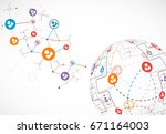abstract technology sphere... | Shutterstock .eps vector #671164003