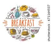 breakfast time concept design.... | Shutterstock .eps vector #671164537