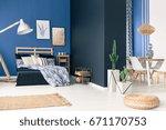 multifunctional blue loft space ...   Shutterstock . vector #671170753