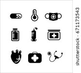 medical icons with white... | Shutterstock . vector #671173543