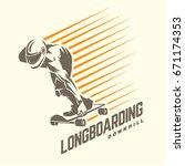 longboarding. sport emblem | Shutterstock .eps vector #671174353