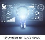 light bulb with digital... | Shutterstock . vector #671178403