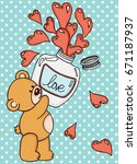 teddy bear with love potion... | Shutterstock .eps vector #671187937