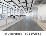 open space office interior with ... | Shutterstock . vector #671192563