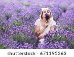 beautiful blond woman sitting... | Shutterstock . vector #671195263