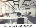 open space office interior with ... | Shutterstock . vector #671200303