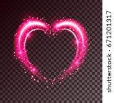 shiny heart shaped frame on... | Shutterstock .eps vector #671201317