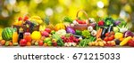 fresh vegetables and fruits... | Shutterstock . vector #671215033