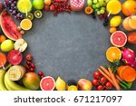 various freshly squeezed fruits ... | Shutterstock . vector #671217097