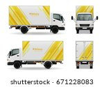 realistic cargo vehicle... | Shutterstock .eps vector #671228083