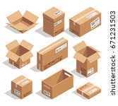 opening and closed cardboard... | Shutterstock .eps vector #671231503
