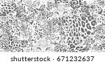 safari dreams grunge pattern.... | Shutterstock .eps vector #671232637