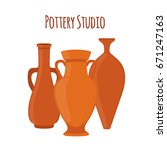 Pottery Studio Label  Logo Wit...
