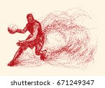 basketball of the particles.... | Shutterstock .eps vector #671249347