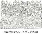 sea waves and houses. seaside ... | Shutterstock .eps vector #671254633