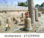 pile foundation pile hacking... | Shutterstock . vector #671259943