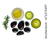 set of spa salon accessories  ... | Shutterstock .eps vector #671274397