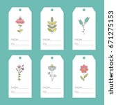 set of vector floral tags.... | Shutterstock .eps vector #671275153