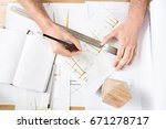 timber craftsman drawing drafts ... | Shutterstock . vector #671278717