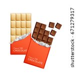 dark and milk candy chocolate... | Shutterstock .eps vector #671279317