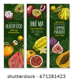 fresh exotic fruits banners for ... | Shutterstock .eps vector #671281423
