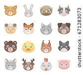 animal muzzle set icons in... | Shutterstock .eps vector #671283073
