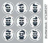 monochrome hipsters faces set... | Shutterstock .eps vector #671285257